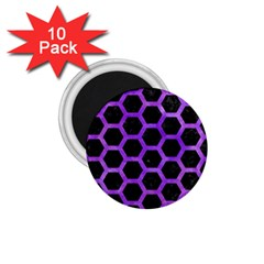 Hexagon2 Black Marble & Purple Watercolor (r) 1 75  Magnets (10 Pack)