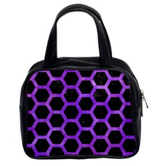 Hexagon2 Black Marble & Purple Watercolor (r) Classic Handbags (2 Sides) by trendistuff