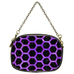 Hexagon2 Black Marble & Purple Watercolor (r) Chain Purses (one Side)  by trendistuff