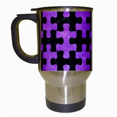 Puzzle1 Black Marble & Purple Watercolor Travel Mugs (white) by trendistuff