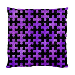 Puzzle1 Black Marble & Purple Watercolor Standard Cushion Case (two Sides) by trendistuff