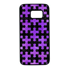 Puzzle1 Black Marble & Purple Watercolor Samsung Galaxy S7 Black Seamless Case by trendistuff