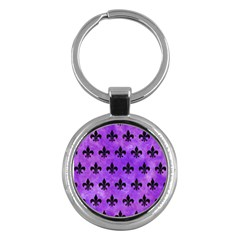 Royal1 Black Marble & Purple Watercolor (r) Key Chains (round)  by trendistuff