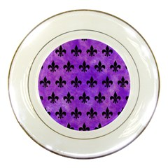 Royal1 Black Marble & Purple Watercolor (r) Porcelain Plates by trendistuff