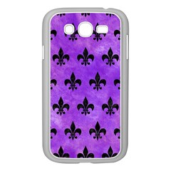 Royal1 Black Marble & Purple Watercolor (r) Samsung Galaxy Grand Duos I9082 Case (white) by trendistuff