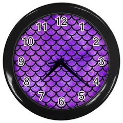 Scales1 Black Marble & Purple Watercolor Wall Clocks (black) by trendistuff