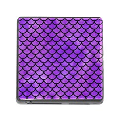 Scales1 Black Marble & Purple Watercolor Memory Card Reader (square) by trendistuff