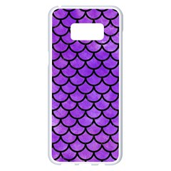 Scales1 Black Marble & Purple Watercolor Samsung Galaxy S8 Plus White Seamless Case by trendistuff