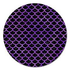 Scales1 Black Marble & Purple Watercolor (r) Magnet 5  (round) by trendistuff