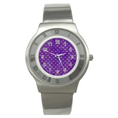 Scales2 Black Marble & Purple Watercolor Stainless Steel Watch by trendistuff