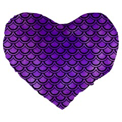 Scales2 Black Marble & Purple Watercolor Large 19  Premium Heart Shape Cushions by trendistuff