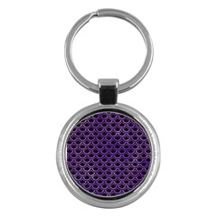 Scales2 Black Marble & Purple Watercolor (r) Key Chains (round)  by trendistuff