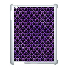 Scales2 Black Marble & Purple Watercolor (r) Apple Ipad 3/4 Case (white) by trendistuff