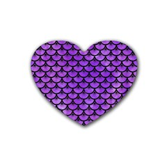 Scales3 Black Marble & Purple Watercolor Rubber Coaster (heart)  by trendistuff