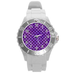 Scales3 Black Marble & Purple Watercolor Round Plastic Sport Watch (l) by trendistuff
