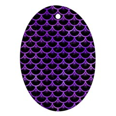 Scales3 Black Marble & Purple Watercolor (r) Ornament (oval) by trendistuff