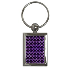 Scales3 Black Marble & Purple Watercolor (r) Key Chains (rectangle)  by trendistuff