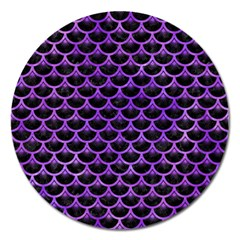 Scales3 Black Marble & Purple Watercolor (r) Magnet 5  (round) by trendistuff