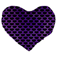 Scales3 Black Marble & Purple Watercolor (r) Large 19  Premium Flano Heart Shape Cushions