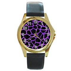 Skin1 Black Marble & Purple Watercolor Round Gold Metal Watch by trendistuff