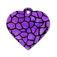 Skin1 Black Marble & Purple Watercolor (r) Dog Tag Heart (two Sides) by trendistuff