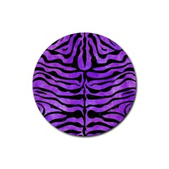 Skin2 Black Marble & Purple Watercolor Rubber Coaster (round)  by trendistuff