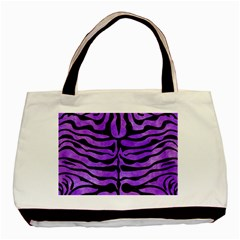 Skin2 Black Marble & Purple Watercolor Basic Tote Bag (two Sides) by trendistuff