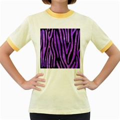 Skin4 Black Marble & Purple Watercolor Women s Fitted Ringer T Shirts