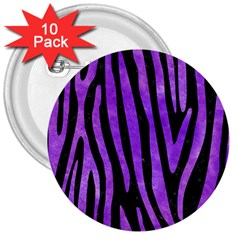 Skin4 Black Marble & Purple Watercolor 3  Buttons (10 Pack)  by trendistuff
