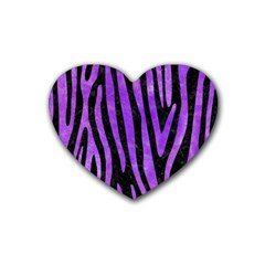 Skin4 Black Marble & Purple Watercolor Rubber Coaster (heart)  by trendistuff