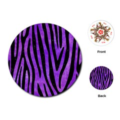 Skin4 Black Marble & Purple Watercolor (r) Playing Cards (round)  by trendistuff