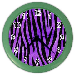 Skin4 Black Marble & Purple Watercolor (r) Color Wall Clocks by trendistuff