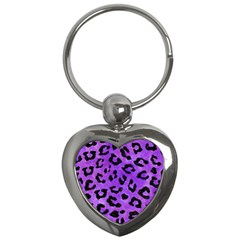 Skin5 Black Marble & Purple Watercolor (r) Key Chains (heart)  by trendistuff