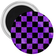 Square1 Black Marble & Purple Watercolor 3  Magnets by trendistuff