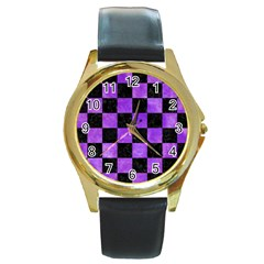 Square1 Black Marble & Purple Watercolor Round Gold Metal Watch by trendistuff