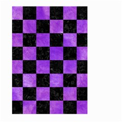 Square1 Black Marble & Purple Watercolor Large Garden Flag (two Sides) by trendistuff