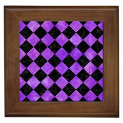 Square2 Black Marble & Purple Watercolor Framed Tiles by trendistuff