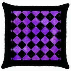 Square2 Black Marble & Purple Watercolor Throw Pillow Case (black) by trendistuff