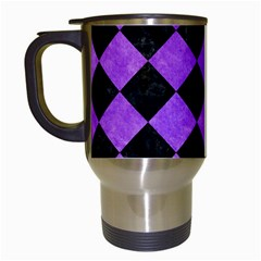 Square2 Black Marble & Purple Watercolor Travel Mugs (white) by trendistuff