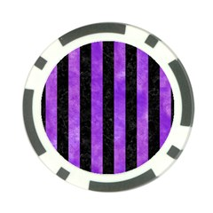 Stripes1 Black Marble & Purple Watercolor Poker Chip Card Guard by trendistuff