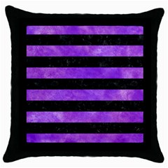 Stripes2 Black Marble & Purple Watercolor Throw Pillow Case (black) by trendistuff
