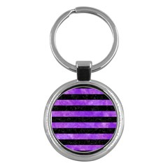 Stripes2 Black Marble & Purple Watercolor Key Chains (round)  by trendistuff