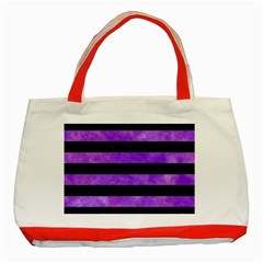 Stripes2 Black Marble & Purple Watercolor Classic Tote Bag (red) by trendistuff