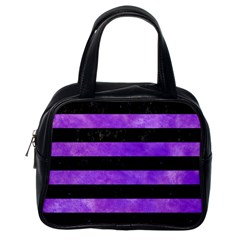 Stripes2 Black Marble & Purple Watercolor Classic Handbags (one Side) by trendistuff