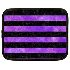 Stripes2 Black Marble & Purple Watercolor Netbook Case (xl)  by trendistuff