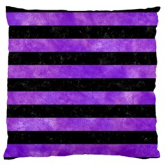 Stripes2 Black Marble & Purple Watercolor Large Flano Cushion Case (one Side) by trendistuff