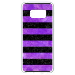 Stripes2 Black Marble & Purple Watercolor Samsung Galaxy S8 White Seamless Case by trendistuff