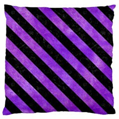 Stripes3 Black Marble & Purple Watercolor Large Cushion Case (two Sides) by trendistuff