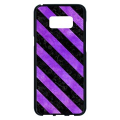 Stripes3 Black Marble & Purple Watercolor Samsung Galaxy S8 Plus Black Seamless Case by trendistuff
