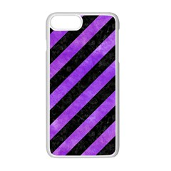 Stripes3 Black Marble & Purple Watercolor (r) Apple Iphone 7 Plus White Seamless Case by trendistuff